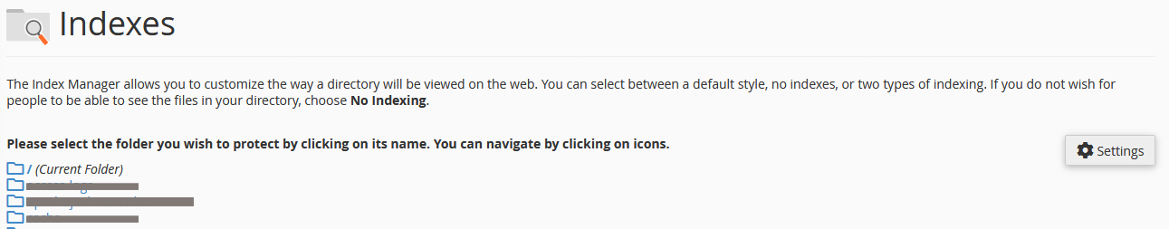 select folder to disable directory listing